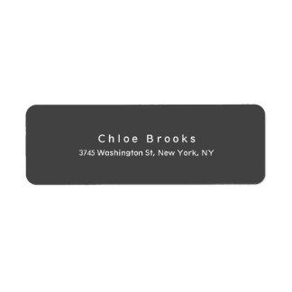 Modern Plain Elegant Unique Gray Color Return Address Label