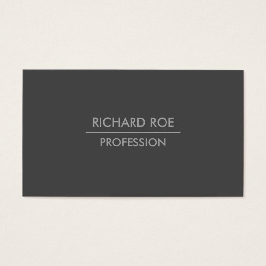 Modern Plain Professional Dark Grey Business Cards