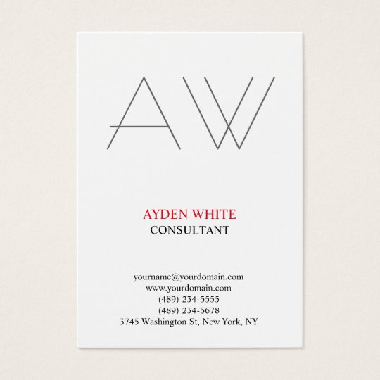 Modern plain simple black white red grey monogram business card