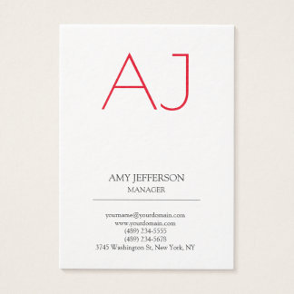 Modern plain vertical Stylish white red monogram Business Card