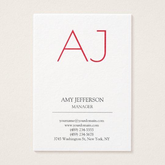 Modern plain vertical Stylish white red monogram Business