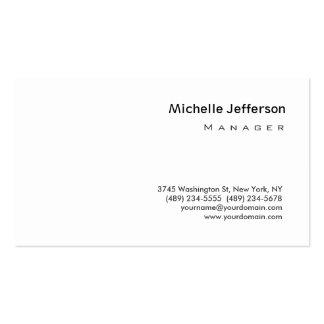 Modern Plain White Manager Business Card