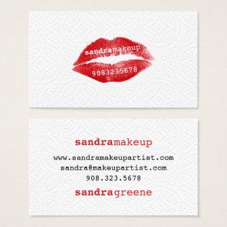 Modern plain white texture red lips makeup artist business card