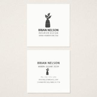 Modern Plant Vase Minimalism Black|White Elegant Square Business Card