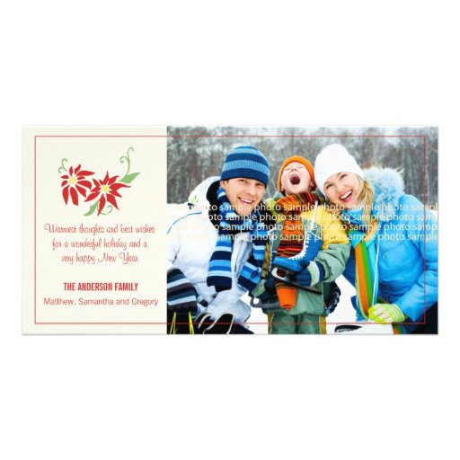 Modern Poinsettia Holiday Photocard Photo Card Template