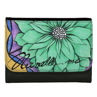 MODERN POINSETTIA in BLUE Leather Wallet