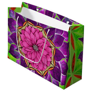 MODERN POINSETTIA in MAGENTA / PURPLE Large Gift Bag