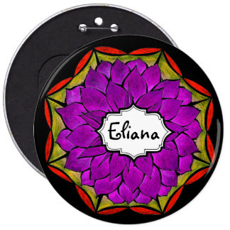 MODERN POINSETTIA in MORE PURPLE DRAMA 6 Cm Round Badge