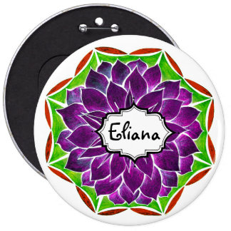 MODERN POINSETTIA in PURPLE DRAMA 6 Cm Round Badge