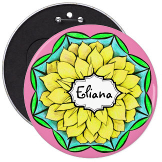 MODERN POINSETTIA in YELLOW 6 Cm Round Badge