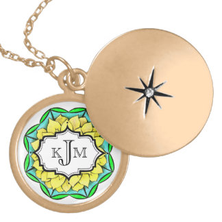 MODERN POINSETTIA in YELLOW Locket Necklace