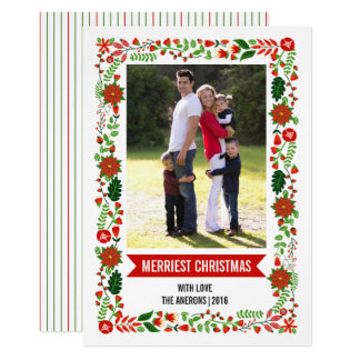 Modern poinsettias red and green Christmas photo 13 Cm X 18 Cm Invitation Card