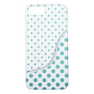 Modern Polka Dot Design Turquoise White iPhone 7 Case