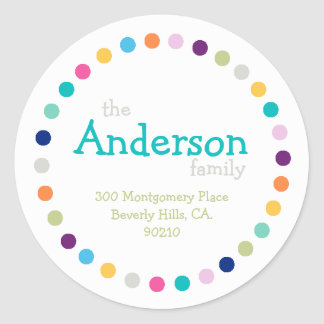 Modern Polka Dots Address Label Sticker