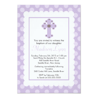 Modern Polka Dots Baby Girl Baptism Christening 5x7 Paper Invitation Card