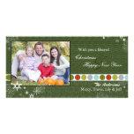 Modern Polka Dots & Snowflakes Christmas Photocard Personalised Photo Card