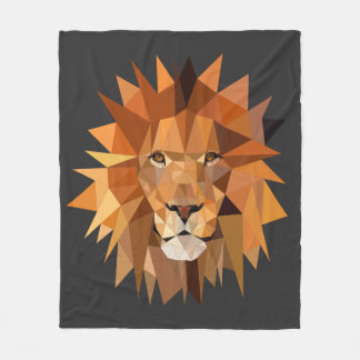 Modern Polygon Lion Custom Fleece Blanket