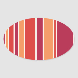 Modern Pomegranate Stripes Oval Sticker