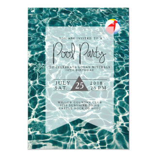 Modern Pool Party | Birthday Invitation