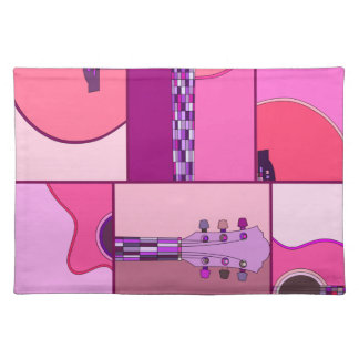 Modern Pop Art Acoustic Guitar in Pink & Purple Placemat
