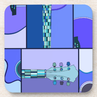 Modern Pop Art Acoustic Guitar in Shades of Blue Coaster
