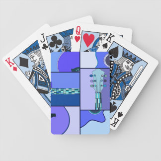 Modern Pop Art Guitar in Shades of Blue Bicycle Playing Cards