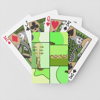 Modern Pop Art Guitar in Shades of Green Bicycle Playing Cards