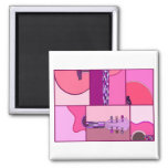 Modern Pop Art Guitar in Shades of Pink and Purple Square Magnet