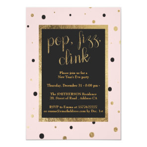 Modern pop fizz clink confetti New Years Eve Party Invitation