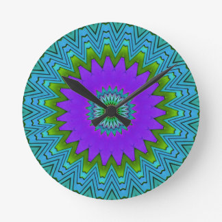 Modern Pop Purple Green Colored Mandala Round Clock