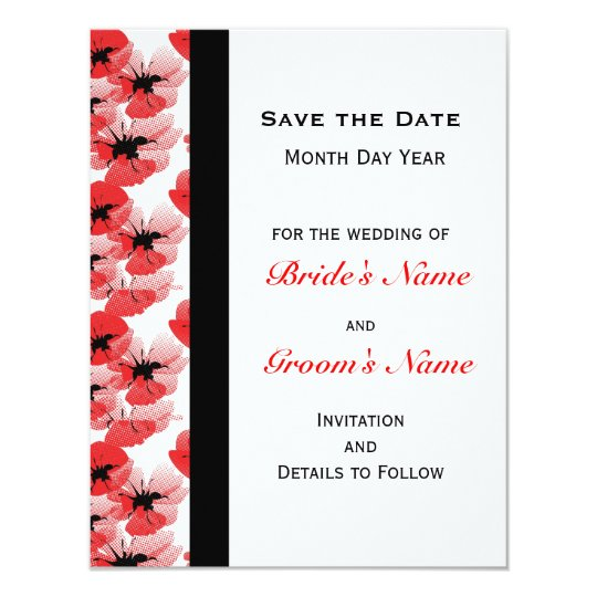 Modern Poppy Save the Date Card