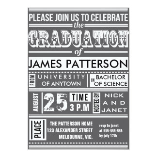Modern poster graduation party 13 cm x 18 cm invitation card