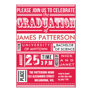 Modern poster graduation party 5x7 paper invitation card