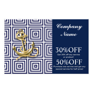 modern preppy blue pattern anchor Nautical Personalized Flyer