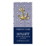 modern preppy blue pattern anchor Nautical Personalised Rack Card