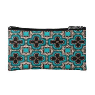 Modern Prertty Abstract Blue And Black Seamless Makeup Bag