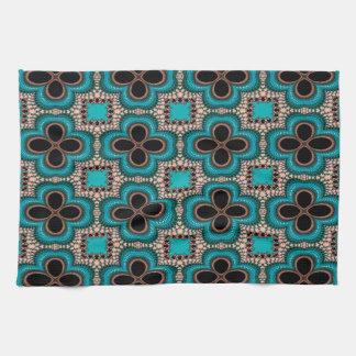 Modern Prertty Abstract Blue And Black Seamless Tea Towel