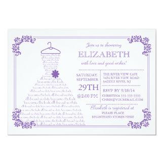 Modern Pretty Purple Wedding Dress Bridal Shower 13 Cm X 18 Cm Invitation Card