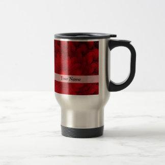 Modern pretty  red fractal pattern travel mug