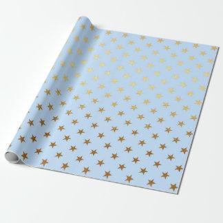 Modern Princess Golden Stars Blue Geometric Vip Wrapping Paper