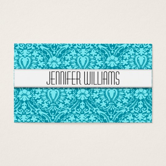 Modern Professional Aqua Damask Business Cards