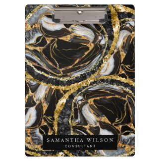 Modern Professional Black And Gold Marble Abstract Clipboard