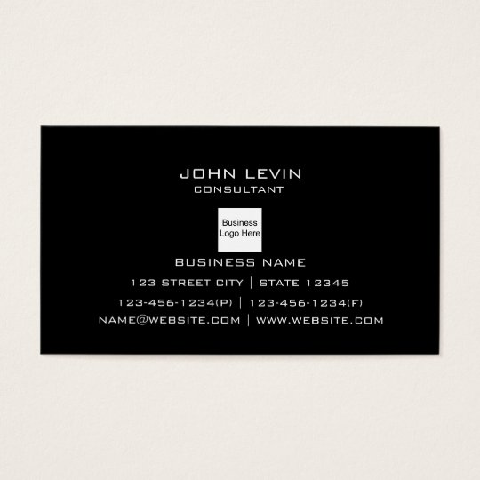 Modern Professional Black Background Logo Contact Business Card