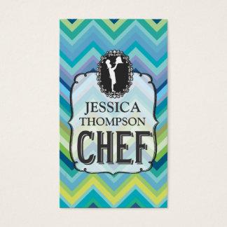 Modern Professional Chevron Cook Chef Custom Cards