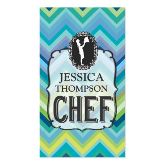 Modern Professional Chevron Cook Chef Custom Cards Pack Of Standard Business Cards
