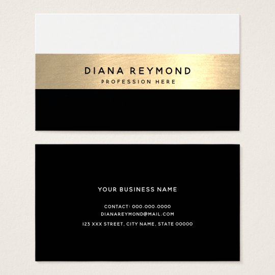 Modern elegant professional black gold corporate business card modern professional faux gold stripe white black business reheart Image collections