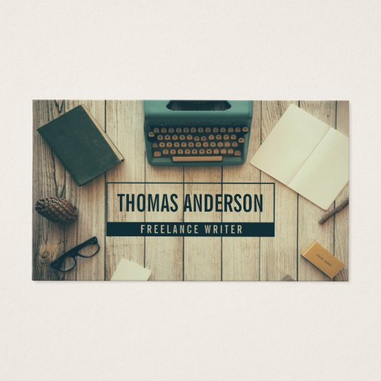 Modern Professional Freelance Writer Typewriter Business Card