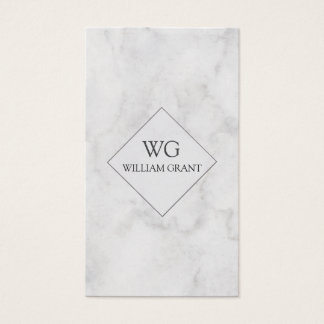 Modern Professional  Minute White Marble Monogram Business Card