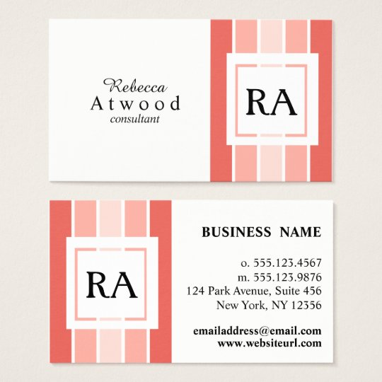 Modern Professional Monogram Business Cards Coral