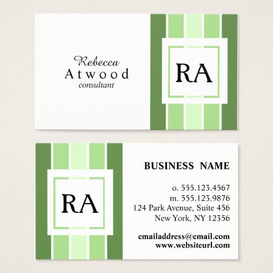 Modern Professional Monogram Business Cards Green